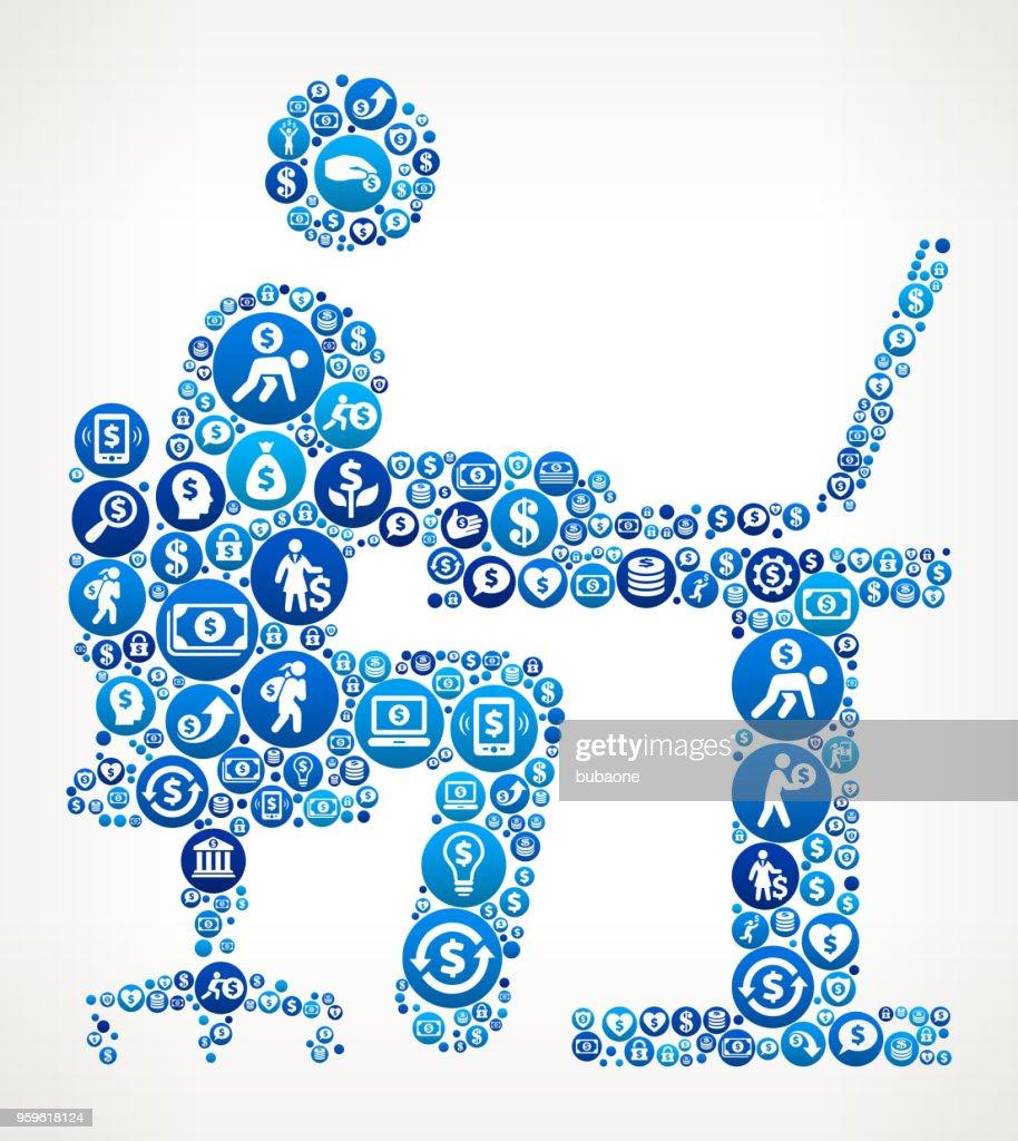 Mann arbeitet am Computer Geld blaues Symbol Muster Hintergrund : Stock-Illustration