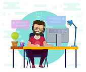 Man working on computer. Work desk, flat cartoon person character, idea of freelancer workplace, online internet conversation image.