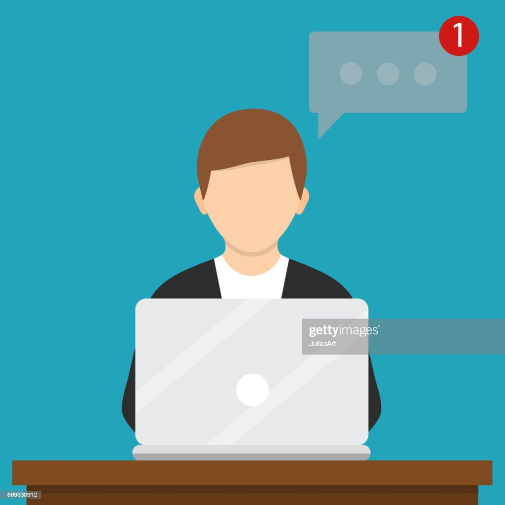 Man working with laptop. Vector illustration. Flat design, social networking