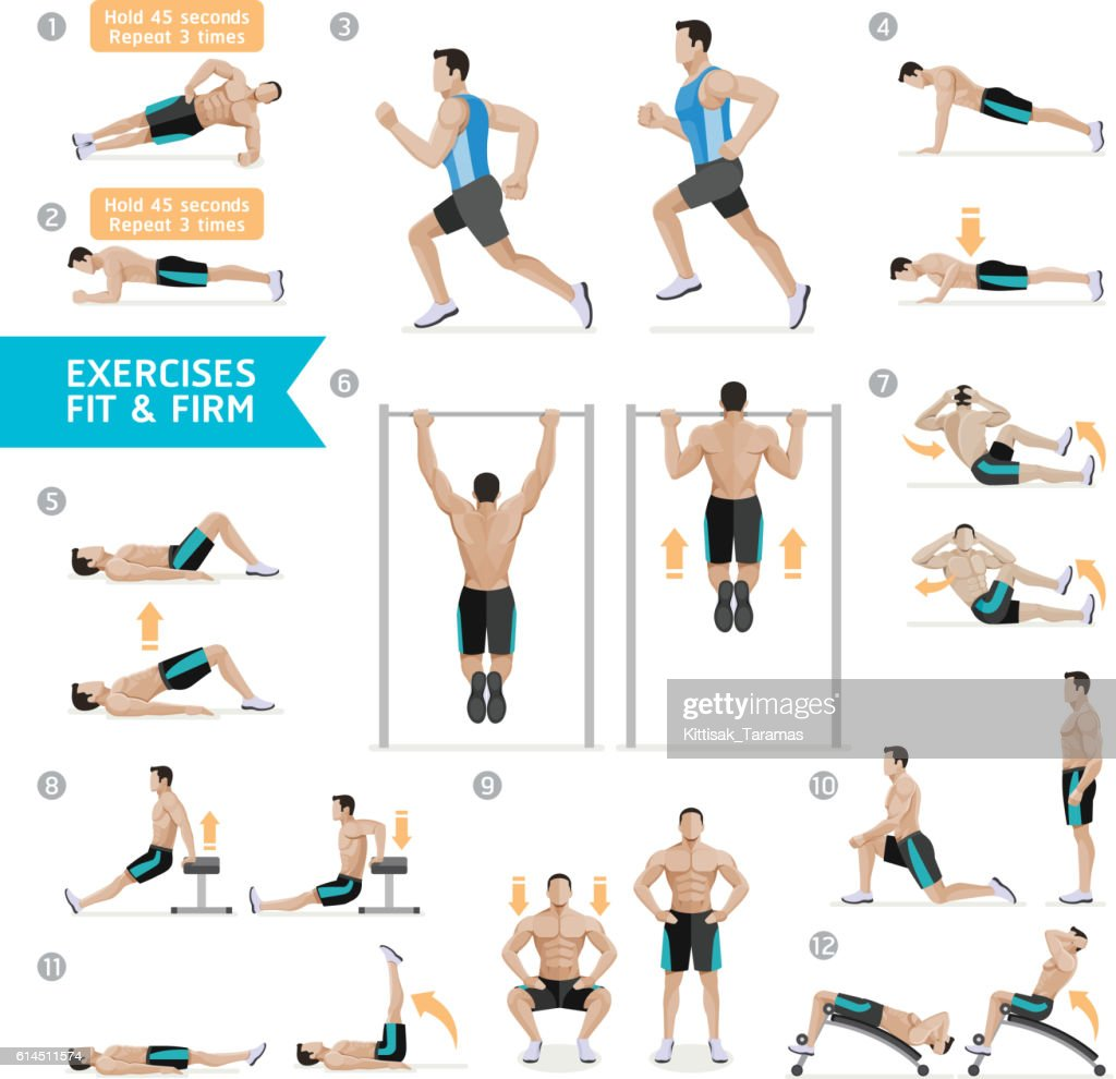 Man workout fitness, aerobic and exercises.