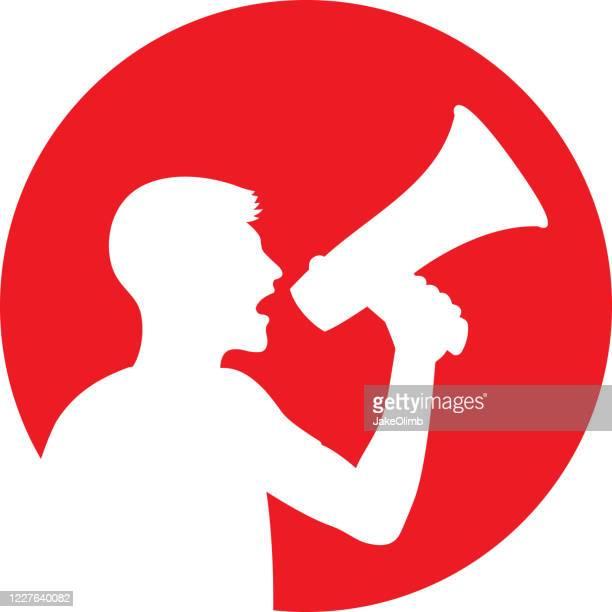 man yelling through megaphone icon silhouette - protestor stock illustrations