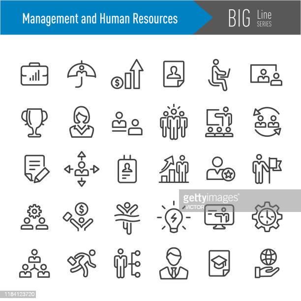 management- und personal-icons - big line serie - organisierte gruppe stock-grafiken, -clipart, -cartoons und -symbole