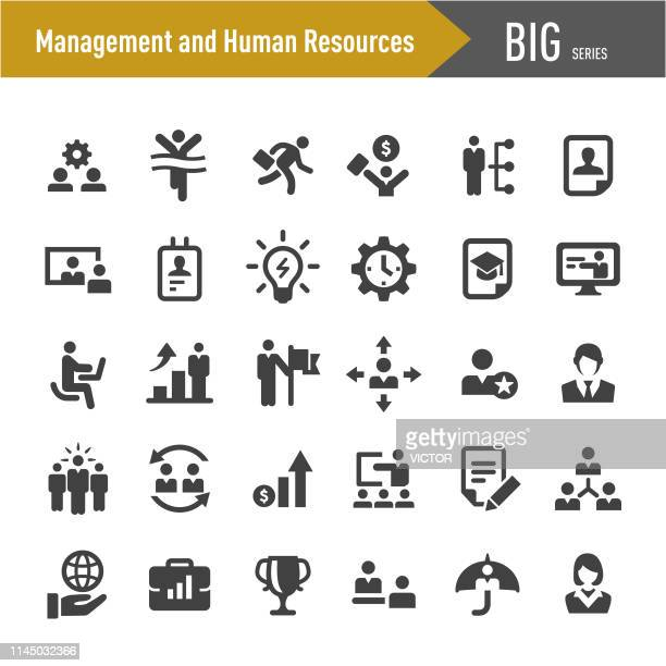 management and human resources icons - big series - information symbol stock illustrations