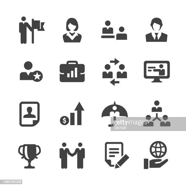 management and human resources icons set - acme series - briefcase stock illustrations