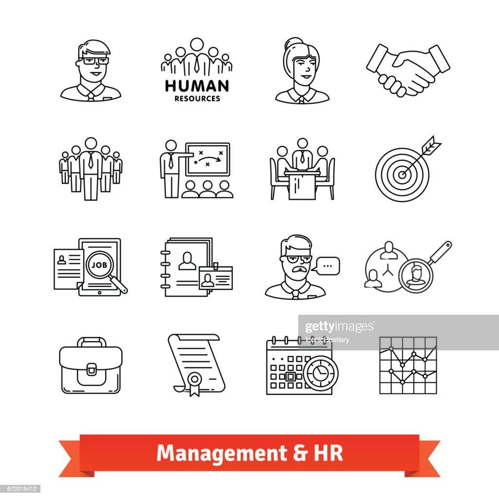 Management and Human resources. Thin line icons