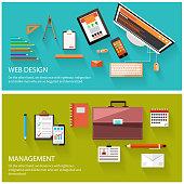 Management and web design concept