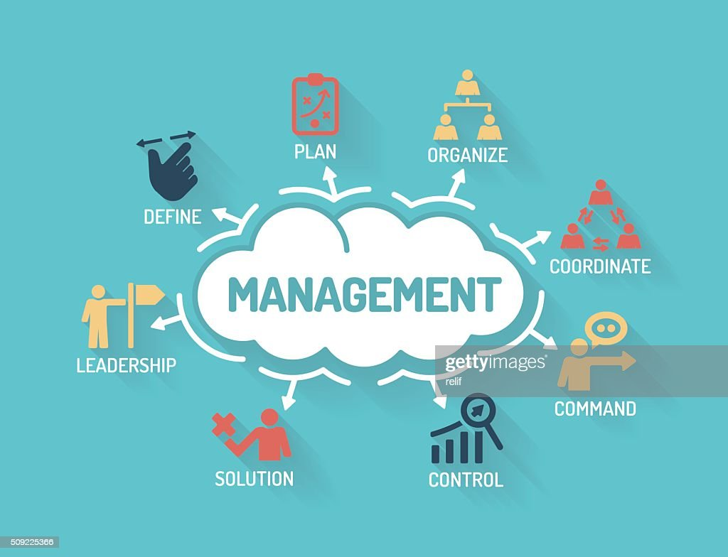Management - Chart with keywords and icons - Flat Design