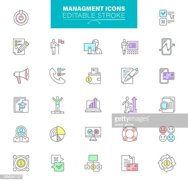 verwaltungssymbole, bearbeitbarer kontur. menschen, human resources, karriere, rekrutierung, geschäftsmann, teamarbeit - umschulung stock-grafiken, -clipart, -cartoons und -symbole