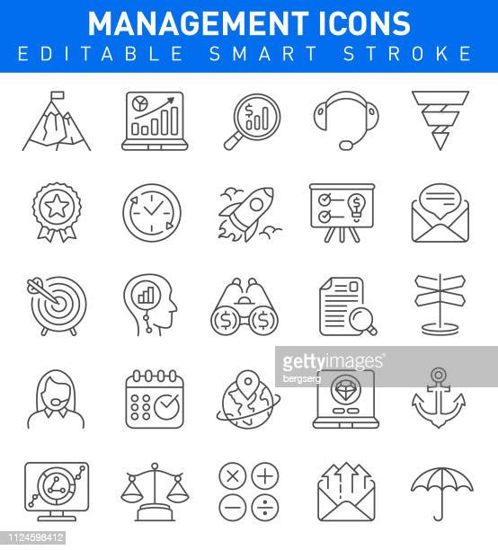 management icons. editable stroke - head above water stock illustrations