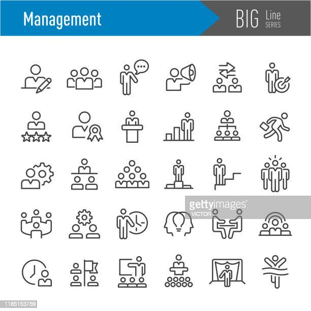management icons set - big line series - large group of objects stock illustrations