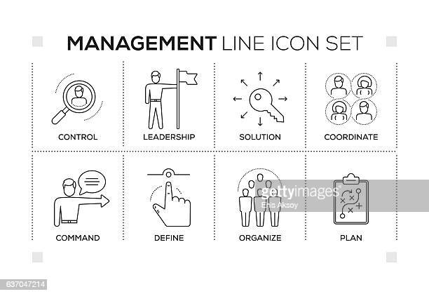 management keywords with monochrome line icons - coordination stock illustrations, clip art, cartoons, & icons