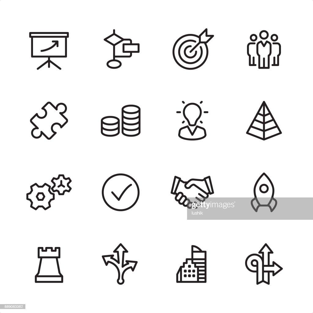 Gestão - conjunto de ícones de contorno : Ilustração