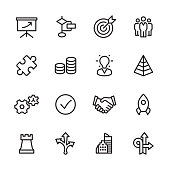 Management - outline icon set