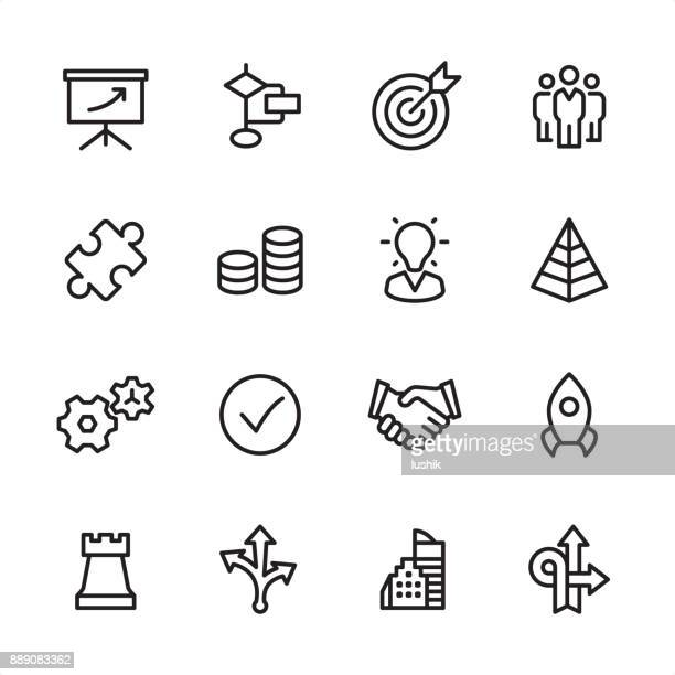 management - outline icon set - partnership teamwork stock illustrations