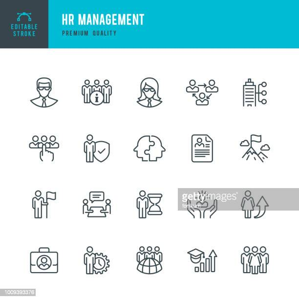 hr management - set of line vector icons - leadership stock illustrations