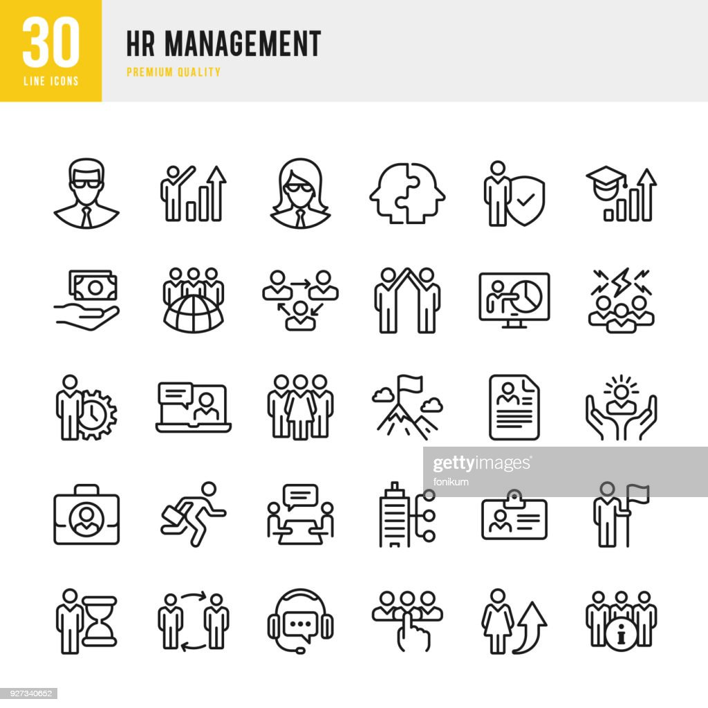 HR Management - set of thin line vector icons : Stock Illustration