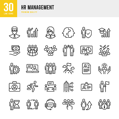HR Management - set of thin line vector icons - gettyimageskorea