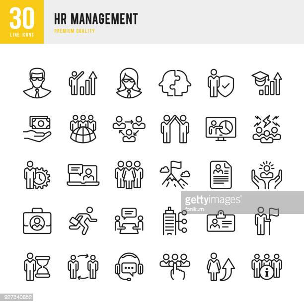 hr management - set of thin line vector icons - partnership teamwork stock illustrations