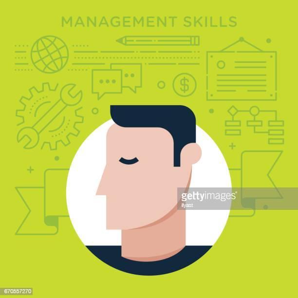 ilustrações, clipart, desenhos animados e ícones de gestão por competências - perfil vista lateral
