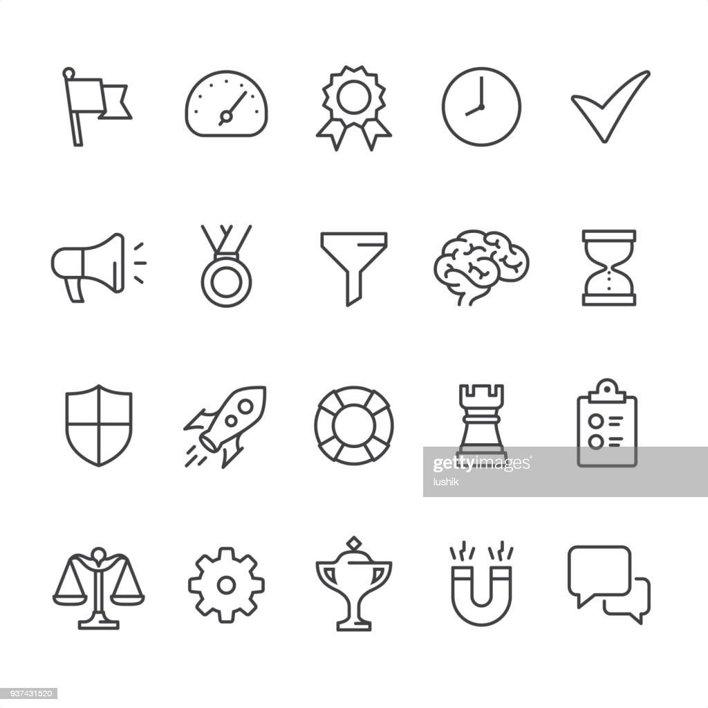 Management theme - outline vector icons
