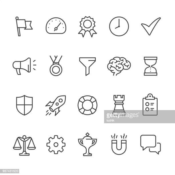 management theme - outline vector icons - flag stock illustrations