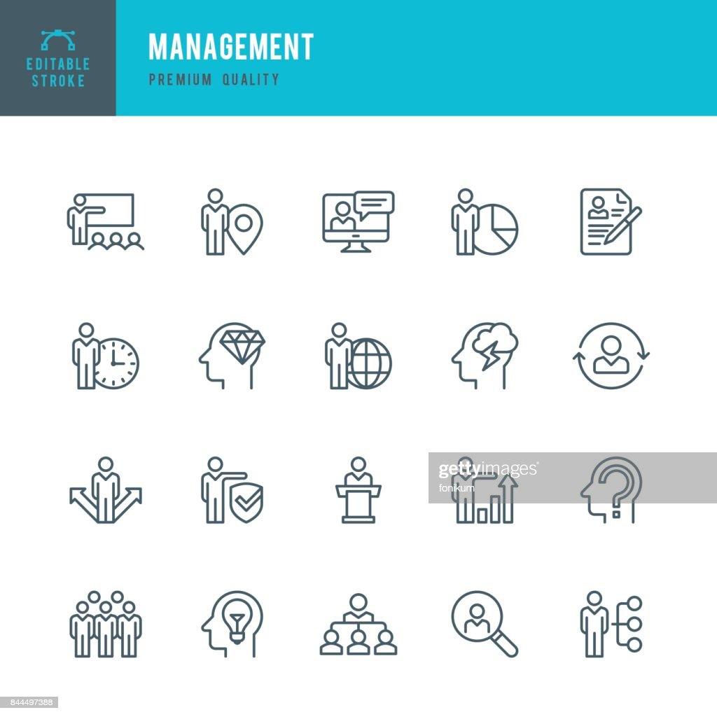 Management  - Thin Line Icon Set : Stock Illustration