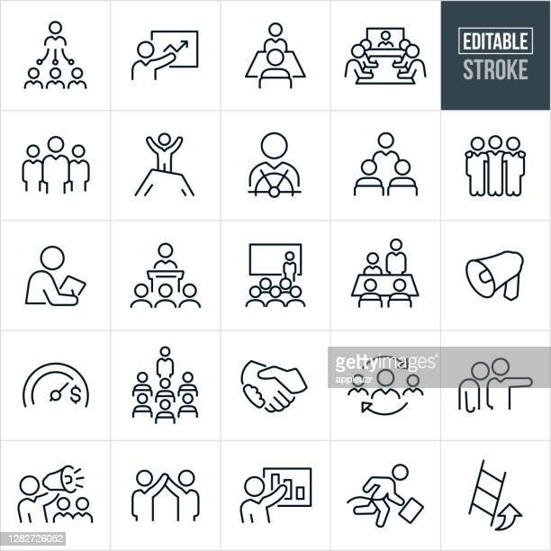 management thin line icons - editable stroke - arm around stock illustrations