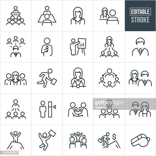 ilustraciones, imágenes clip art, dibujos animados e iconos de stock de gestión iconos de línea delgada - trazo editable - compromiso de los empleados