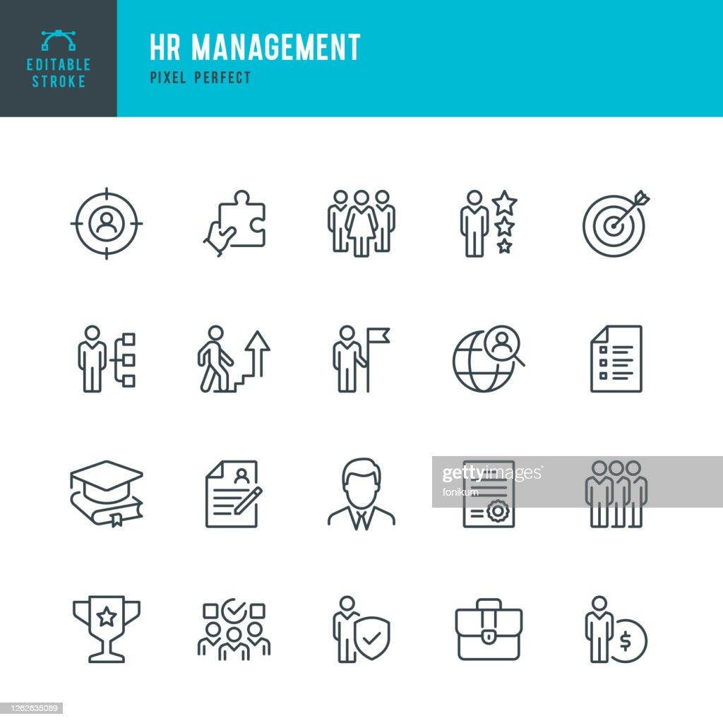 HR Management - Dünnlinien-Vektor-Symbol-Set. Pixel perfekt. Bearbeitbarer Strich. Das Set enthält Symbole: Personal, Karriere, Rekrutierung, Geschäftsmann, Gruppe von Menschen, Teamarbeit, Geschicklichkeit, Kandidat. : Stock-Illustration