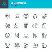HR Management - thin line vector icon set. Pixel perfect. Editable stroke. The set contains icons: Human Resources, Career, Recruitment, Business Person, Group Of People, Teamwork, Skill, Candidate.