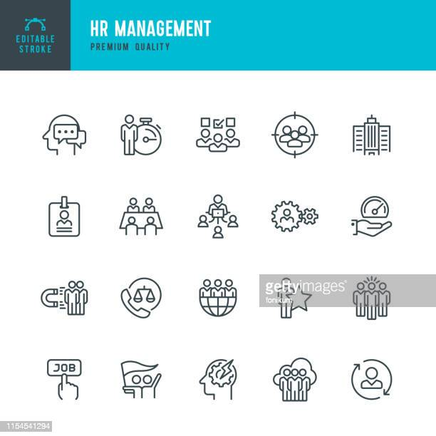 hr management - vector line icon set - social issues stock illustrations