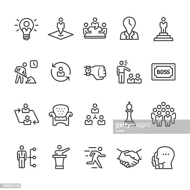 stockillustraties, clipart, cartoons en iconen met manager and corporate hierarchy vector icons - flexplekken