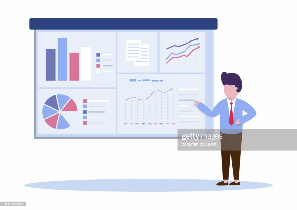 Manager or Businessman is presenting marketing data on a screen board explain many type of charts. Flat style icon Vector, Illustration, EP10