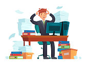 Manager overworked. Office overwork, unorganized paperwork and business work document sheets piles cartoon illustration