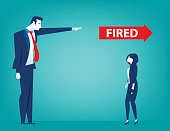 Manager pointing fired at businesswoman. Losing a job. Unemployed people. Concept business illustration. Vector flat