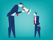 Manager screaming in megaphone on  man colleague. Reproach with businessman. Concept business illustration. Vector flat
