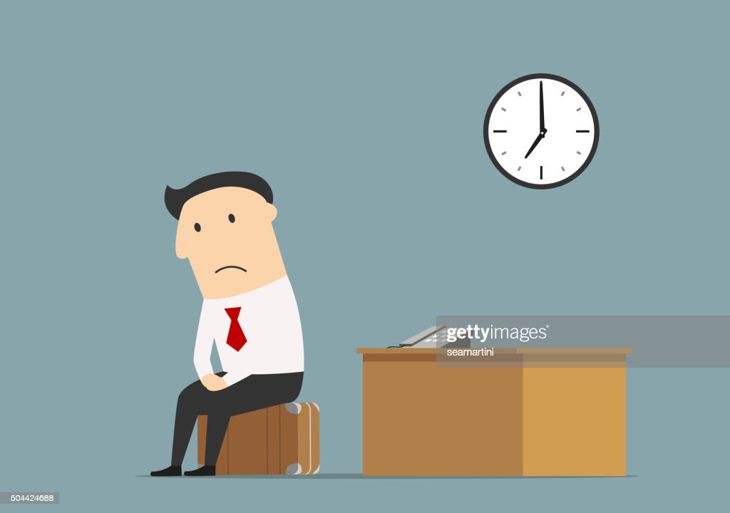Manager sitting at office after being fired