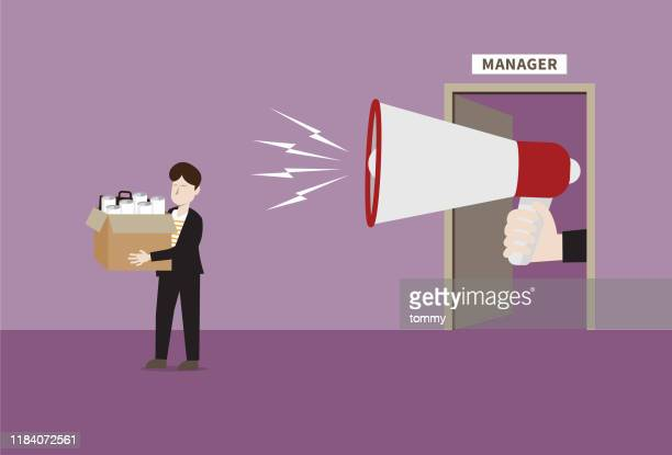 manager with a megaphone fired businessman - downsizing unemployment stock illustrations