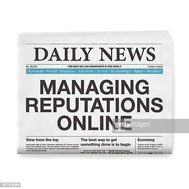 managing reputations online headline. newspaper isolated on white background - adulation stock illustrations, clip art, cartoons, & icons
