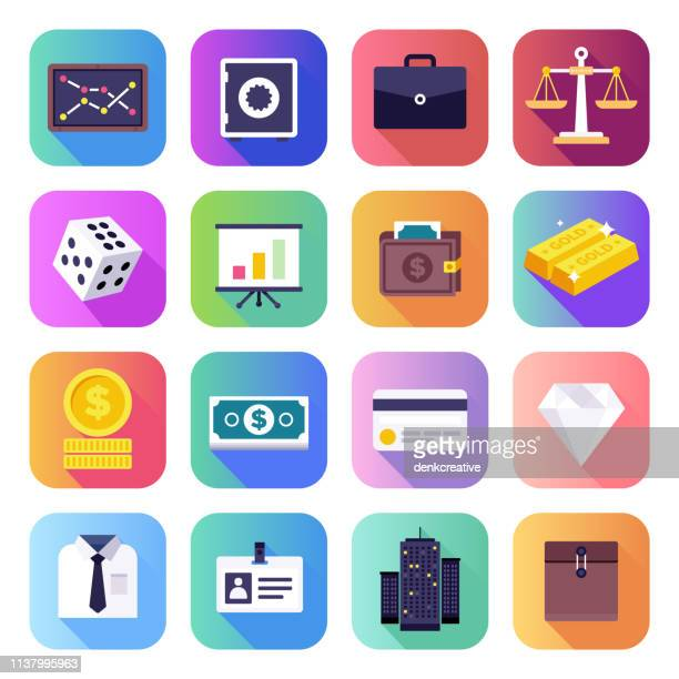 managing white collar office work flat smooth gradient style vector icons set - mobile app stock illustrations
