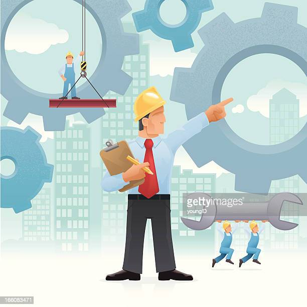 managing work concept - contractor stock illustrations, clip art, cartoons, & icons