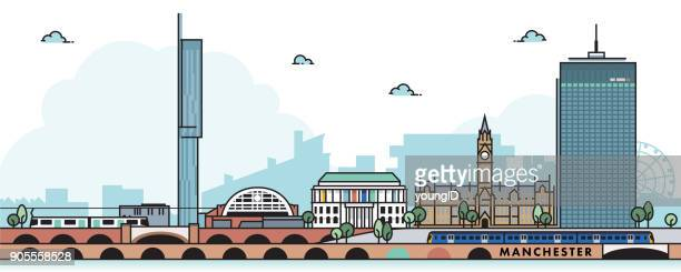 manchester city skyline - manchester england stock illustrations