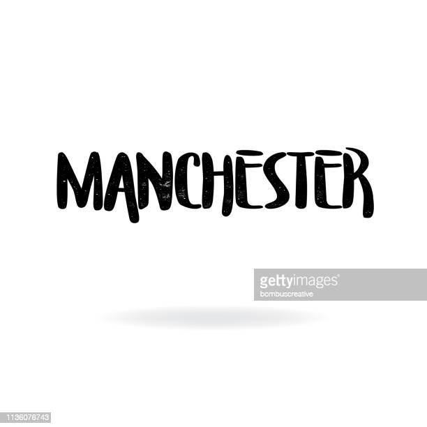 manchester lettering design - manchester tennessee stock illustrations