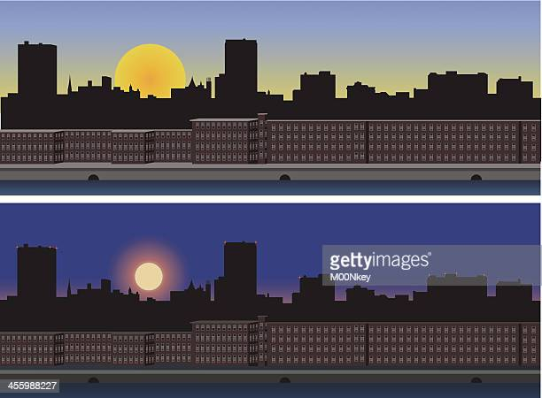 manchester new hampshire - day and night - manchester new hampshire stock illustrations