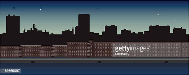 manchester nh skyline - manchester new hampshire stock illustrations