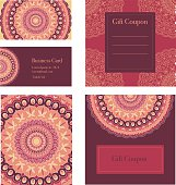 Mandala business set.  Business cards, invitation, sale coupon, gift coupon.