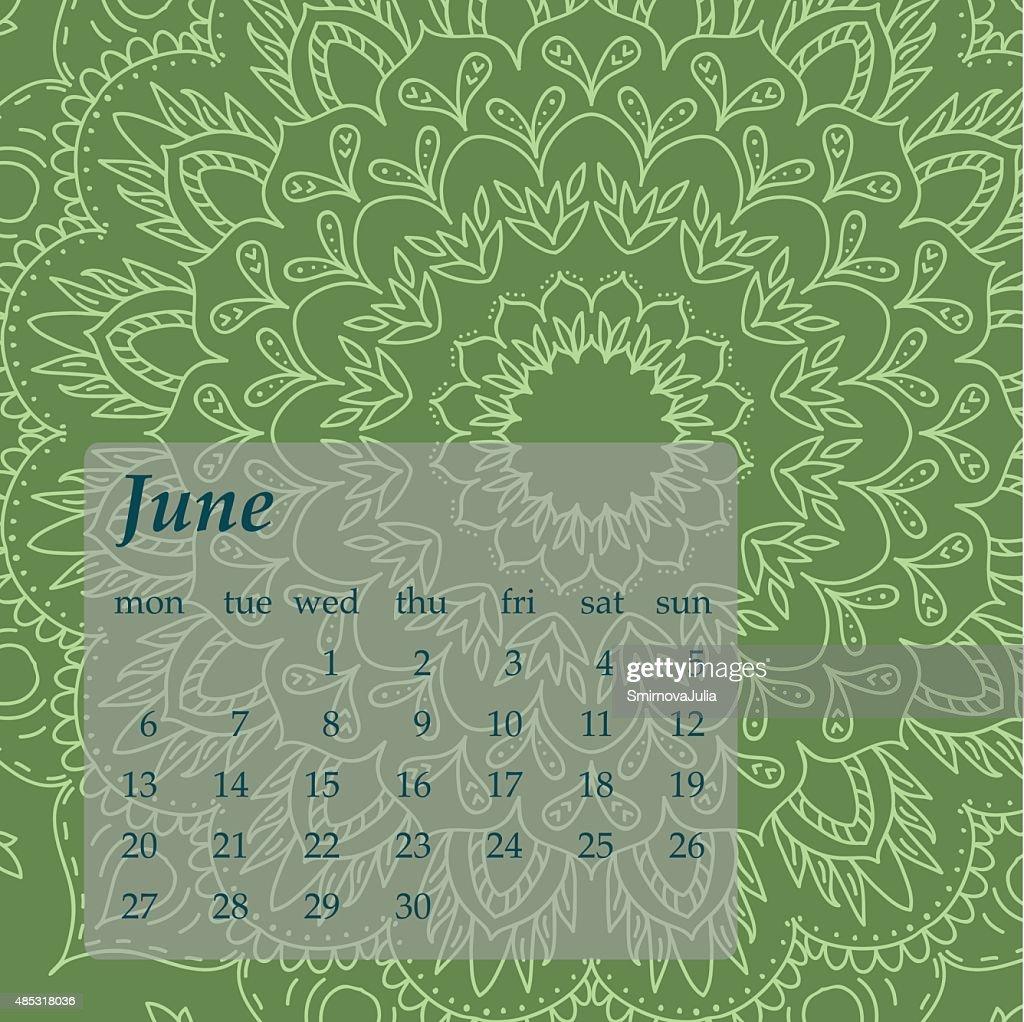 Mandala Calendar June 2016.