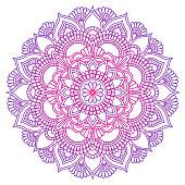 Mandala. Ethnic round ornament. Hand drawn indian motif. Mehendi meditation yoga henna theme. Unique purple floral print.