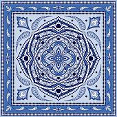 Mandala indian paisley pattern vector. Floral medallion prints for woman silk scarf. Vintage flower batik ornament. Ethnic design