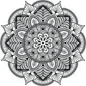 mandala inspired illustration, black and white
